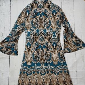 Cato Teal/Blk/Gold Print High neck Bell Sleeve 2